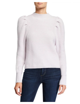 Puff Sleeve Mock Neck Cashmere Sweater by Autumn Cashmere