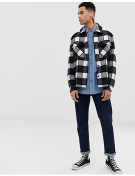 Asos Design Unlined Wool Mix Jacket In Black And White Check by Asos Design