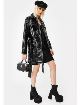 Belted Vegan Leather Trench Coat by Glamorous