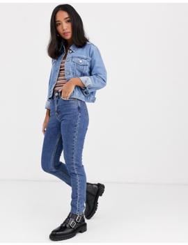 Asos Design Petite Denim Shrunken Jacket In Blue by Asos Design