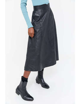 Vintage As Is Leather Midi Skirt   by Urban Renewal