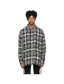 Black & White Check Tweed Laced Over Shirt by Faith Connexion