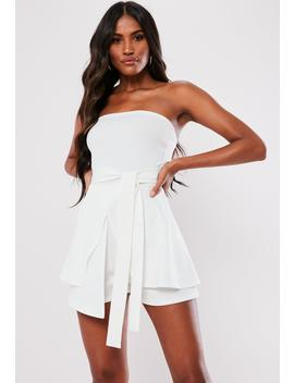 White Bandeau Tie Front Skort Playsuit by Missguided