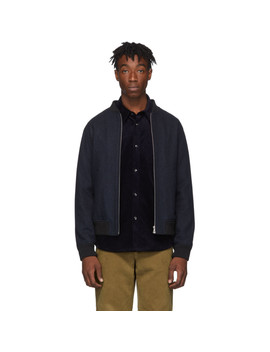 Navy Wool Mouliné Lota Bomber Jacket by A.P.C.