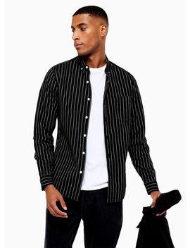 Black And Ecru Pinstripe Slim Shirt by Topman