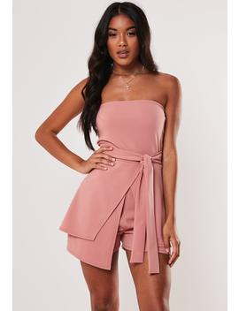 Rose Bandeau Tie Front Playsuit by Missguided