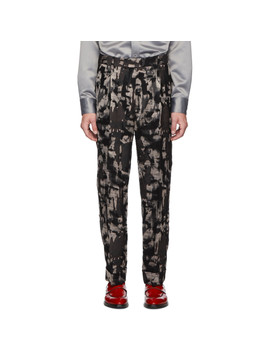 Black Mixed Print Oversized Trousers by Paul Smith