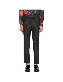 Grey Wool Pinstripes Trousers by Paul Smith