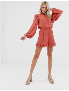 Asos Design Romper With Lace Inserts And Shirring by Asos Design