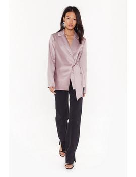 Make It Slick Satin Tie Blazer by Nasty Gal