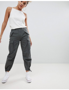Asos Design Petite Cargo Pants In Khaki by Asos Design