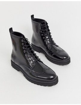Asos Design Lace Up Boots In Black Faux Leather On Chunky Sole by Asos Design
