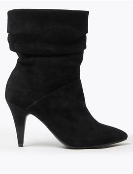 Suede Ruched Pointed Ankle Boots by Marks & Spencer