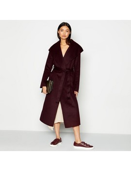 Wine Wrap Robe Coat With Wool by Kley