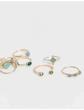 Asos Design Curve Pack Of 8 Rings With Green Shade Stones In Gold Tone by Asos Design