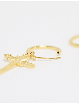 Asos Design Sterling Silver With Gold Plate Hoop Earrings With Cross Charm by Asos Design