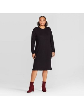 Women's Plus Size Long Sleeve Crewneck Essential Midi Dress   Prologue™ by Prologue
