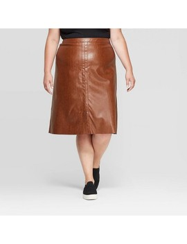 Women's Plus Size Faux Leather Skirt   Ava & Viv™ by Ava & Viv