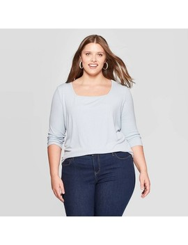 Women's Plus Size Long Sleeve Square Neck Rib Top   Ava & Viv™ by Ava & Viv