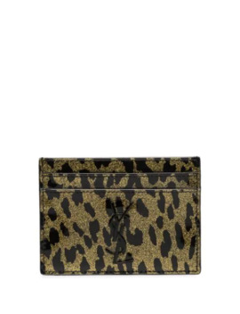 Metallic Leopard Print Leather Cardholder by Saint Laurent