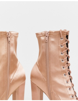 Asos Design Equals Lace Up Block Heel Boots In Pink Satin by Asos Design