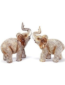 Feng Shui Lovely Pair Of Polyresin Elephant Trunk Statue Wealth Lucky Figurine Home Decor Housewarming Gift by Smiling Juju