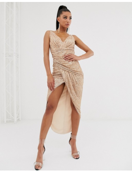 Tfnc Wrap Front Sequin Maxi Dress In Rose Gold by Tfnc