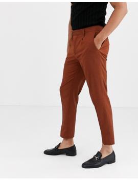 Asos Design Slim Crop Smart Trousers In Terracotta by Asos Design