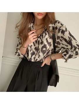 Naning9   Wide Cuff Leopard Shirt by Naning9