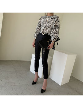 Naning9   Bishop Sleeve Leopard Blouse by Naning9