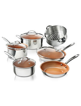 Gotham Steel Premium Tri Ply Stainless Steel 10 Piece Complete Kitchen Set With Nonstick Copper Coating by As Seen On Tv