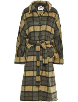 Belted Checked Wool Blend Coat by American Vintage