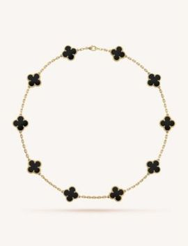 Vintage Alhambra Gold And Onyx Necklace by Van Cleef & Arpels