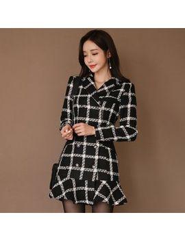 Hasu   Long Sleeve Plaid Mini Tweed Dress by Hasu