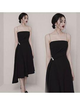 Hasu   Spaghetti Strap Asymmetric Hem Midi A Line Dress by Hasu