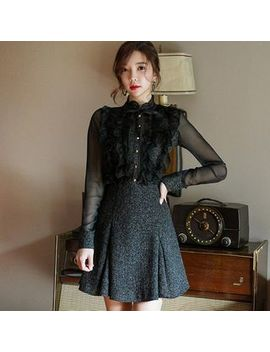 Hasu   Set: Mesh Panel Ruffle Trim Blouse + A Line Skirt by Hasu