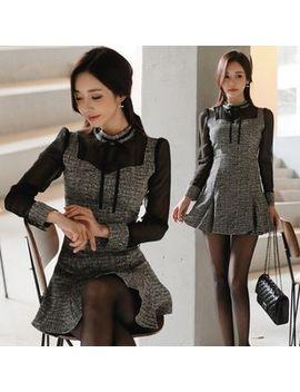 Hasu   Set: Tweed Mesh Panel Blouse + Mini A Line Skirt by Hasu