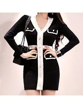 Hasu   Long Sleeve Color Block Mini Knit Dress by Hasu
