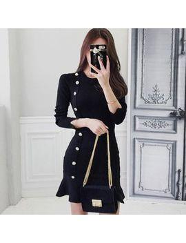 Hasu   3/4 Sleeve Frill Trim Buttoned Mini Knit Dress by Hasu