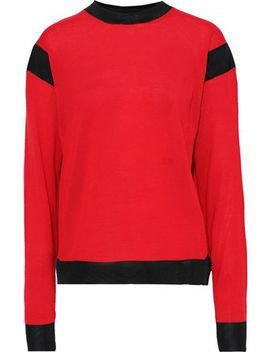 Mesh Trimmed Wool Blend Sweater by Sonia Rykiel