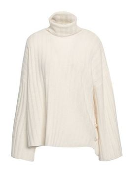 Faux Pearl Embellished Ribbed Cashmere Turtleneck Sweater by Milly