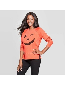 Women's Jack O' Lantern Long Sleeve Graphic Sweatshirt (Juniors')   Orange by Grayson Threads