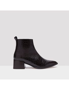 Elin Deep Brown Croc Leather Boots by Miista