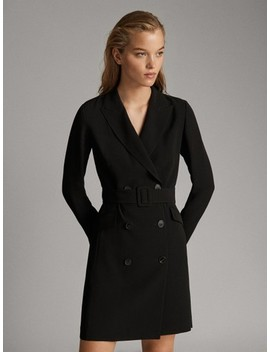 Vestido Blazer CinturÓn Negro by Massimo Dutti