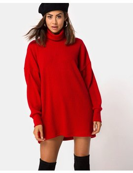 Neve High Neck Dress In Red By Motel by Motel