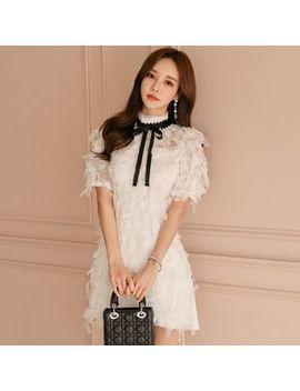 Hasu   Short Sleeve Fringe A Line Dress by Hasu