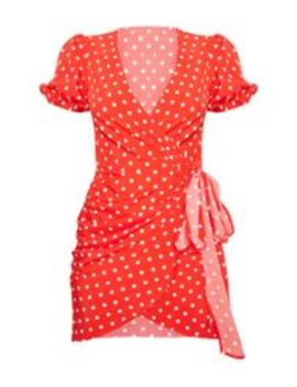 Red Polka Dot Tie Side Puff Sleeve Tea Dress by Prettylittlething