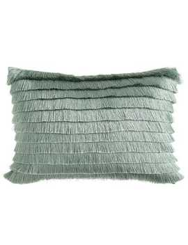 Fringed Navy Lumbar Pillow by Pier1 Imports