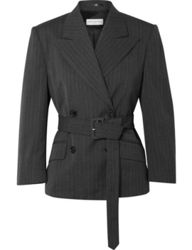 Belted Double Breasted Pinstriped Twill Blazer by Dries Van Noten