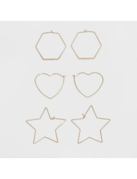 Hoop Trio With Hexagon, Heart, And Star Shape Earring Set   Wild Fable™ Gold by Wild Fable